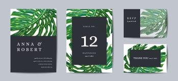 Ботанический дизайн шаблона карточки приглашения свадьбы, тропические листья в современном стиле, собрании спасения дата, RSVP иллюстрация вектора