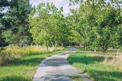 Ботанический сад с деревьями, водой и цветками Природа и trave Стоковые Фото
