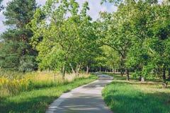 Ботанический сад с деревьями, водой и цветками Природа и trave Стоковое Фото