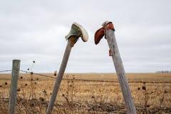 2 ботинка вися на столбах загородки Стоковая Фотография