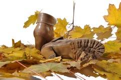 2 ботинка на листьях осени клена Стоковое Фото