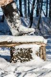 Ботинки войлока (valenki) в снеге. стоковые изображения rf