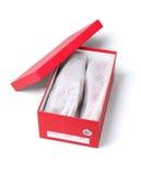 Ботинки в открытой красной коробке Стоковое Фото