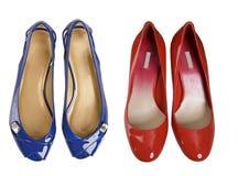 ботинки голубого красного цвета Стоковые Фото
