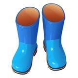 Ботинки голубых детей резиновые на синие рифленные подошвы с оранжевой выпушкой, иллюстрацией вектора Стоковое Изображение