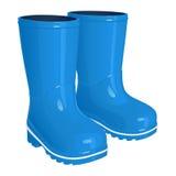 Ботинки голубых детей резиновые на толстых рифлёных подошвах, иллюстрации вектора Стоковое Фото