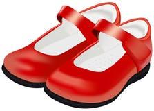 Ботинки женщины вектора красные для ребенка на белизне иллюстрация штока