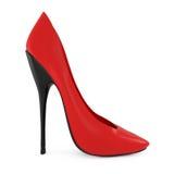 Ботинки женщин высокой пятки красные на белизне Стоковое Изображение RF