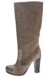 Ботинки женщин коричневой высоко-накрененные замшей Стоковое Изображение