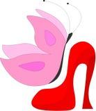 Ботинки женщин с бабочкой Стоковые Фотографии RF