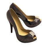 Ботинки женщин черные Стоковое фото RF