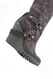 Ботинки замши женщин коричневые с максимумом заклинивают (часть) Стоковые Изображения RF