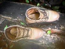 Ботинки замши на grungy древесине Стоковое Фото