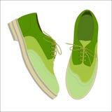 Ботинки зеленого цвета иллюстрации вектора на белой предпосылке иллюстрация штока