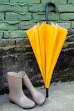 Ботинки зонтика и дождя Стоковые Фото