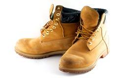 ботинки изолировали желтый цвет старой белизны пар работая Стоковое Изображение