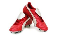 ботинки изолированные футболом Стоковые Изображения
