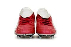 ботинки изолированные футболом Стоковое фото RF