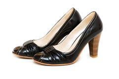 ботинки изолированные чернотой Стоковое Фото
