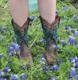 Ботинки и Bluebonnets стоковая фотография rf