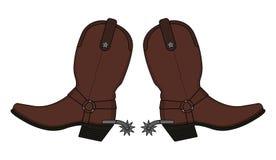 Ботинки ковбоя Диких Западов кожаные стоковое изображение rf