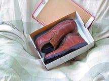 ботинки коробки новые Стоковая Фотография