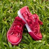 ботинки красного цвета зеленого цвета травы Стоковое фото RF