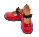 ботинки красного цвета патента младенца кожаные Стоковое Изображение RF