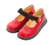 ботинки красного цвета патента младенца кожаные Стоковые Фотографии RF