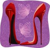 ботинки красного цвета умерщвления пяток высокие иллюстрация вектора