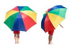 Ботинки носки детей не держат изолят зонтика на белой предпосылке стоковая фотография rf