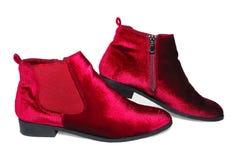 Ботинки лодыжки бархата ` s дамы красные изолированные на белой предпосылке Стоковые Изображения
