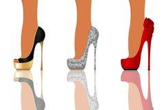 Ботинки партии высокой пятки иллюстрация вектора