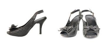 ботинки пар черной шикарной повелительницы кожаные Стоковое Изображение