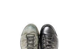 Ботинки перед и после заполированностью Стоковое Фото