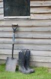 ботинки подготавливают работу wellington лопаткоулавливателя Стоковая Фотография