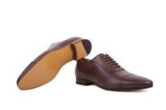 Ботинки платья шнурка-вверх людей, конструированные с тонким вытянутым пальцем ноги Стоковая Фотография