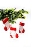 Ботинки Санты на рождественской елке Стоковое Изображение
