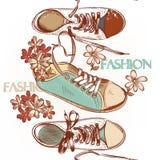 Ботинки спорта картины моды безшовной нарисованные рукой бесплатная иллюстрация