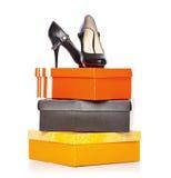 ботинки способа коробок Стоковые Изображения RF