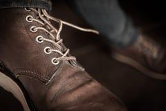Ботинки старого коричневого ботинка кожаные Стоковое Фото