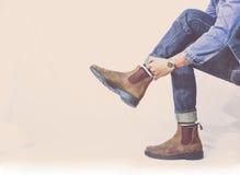 Ботинки с джинсами Стоковые Изображения