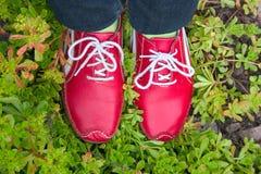 ботинки травы красные идущие Стоковое Изображение RF