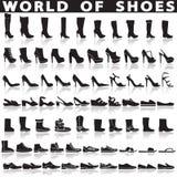 Ботинки установленные значков вектора плоских Стоковое Фото