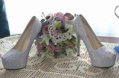 ботинки цветков wedding Стоковые Изображения RF