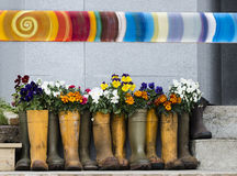 Ботинки цветочного горшка Стоковое фото RF