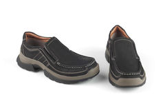 Ботинки черного цвета кожаные Стоковое Фото
