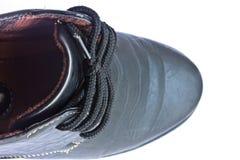 Ботинки черных кожаных людей, ботинки моды людей на белой предпосылке Стоковая Фотография RF