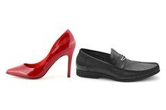 Ботинки человека и женщины стоковая фотография rf