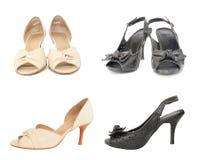 ботинки 2 пар бежевой черной повелительницы кожаные стоковое фото